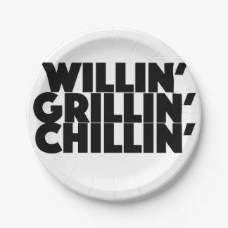 Willin', Grillin', Chillin Platos De Papel