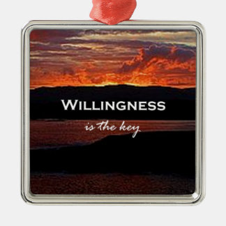 Willingness Is The Key Square Metal Christmas Ornament