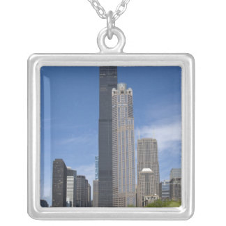 Willis Tower (previously the Sears Tower) looms Silver Plated Necklace