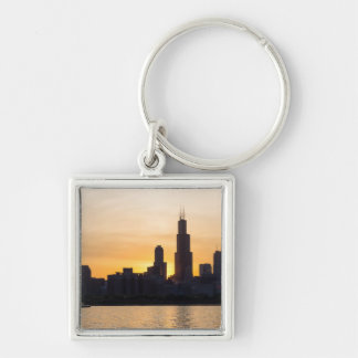 Willis Tower Sunset Sihouette Keychain