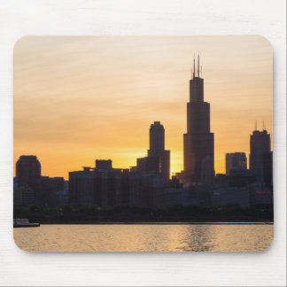 Willis Tower Sunset Sihouette Mouse Pad