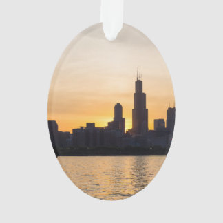Willis Tower Sunset Sihouette Ornament