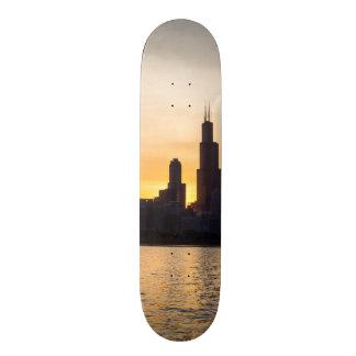 Willis Tower Sunset Sihouette Skateboard Deck