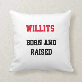 Willits Born and Raised Throw Pillow
