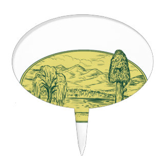 Willow And Sequoia Tree Lake Mountains Oval Drawin Cake Topper