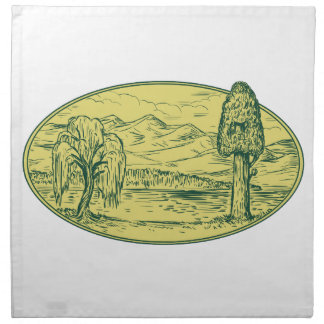 Willow And Sequoia Tree Lake Mountains Oval Drawin Cloth Napkin