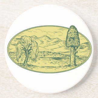 Willow And Sequoia Tree Lake Mountains Oval Drawin Coaster