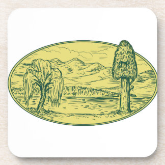 Willow And Sequoia Tree Lake Mountains Oval Drawin Drink Coaster
