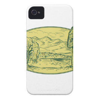 Willow And Sequoia Tree Lake Mountains Oval Drawin iPhone 4 Case