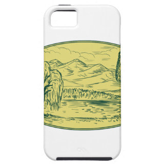 Willow And Sequoia Tree Lake Mountains Oval Drawin iPhone SE/5/5s Case