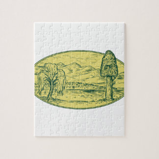 Willow And Sequoia Tree Lake Mountains Oval Drawin Jigsaw Puzzle