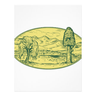 Willow And Sequoia Tree Lake Mountains Oval Drawin Letterhead