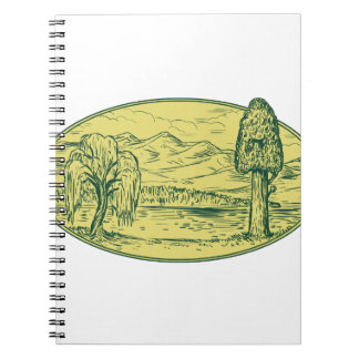 Willow And Sequoia Tree Lake Mountains Oval Drawin Notebook