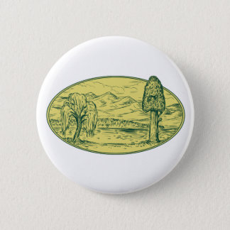 Willow And Sequoia Tree Lake Mountains Oval Drawin Pinback Button