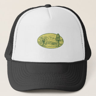 Willow And Sequoia Tree Lake Mountains Oval Drawin Trucker Hat