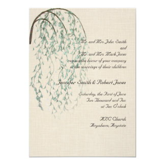 Willow Branch in Brown and Teal Wedding Invitation