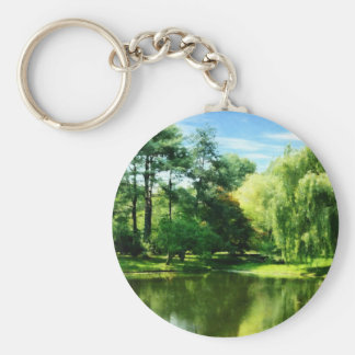 Willow By the Lake Basic Round Button Keychain
