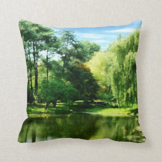 Willow By the Lake Throw Pillows