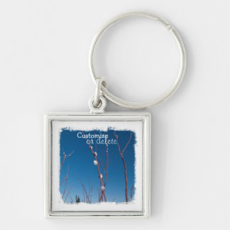 Willow Catkin Portrait; Customizable Silver-Colored Square Keychain