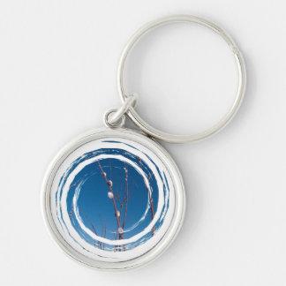 Willow Catkin Portrait Silver-Colored Round Keychain