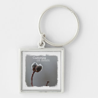 Willow Catkins After Spring Rain; Customizable Keychain