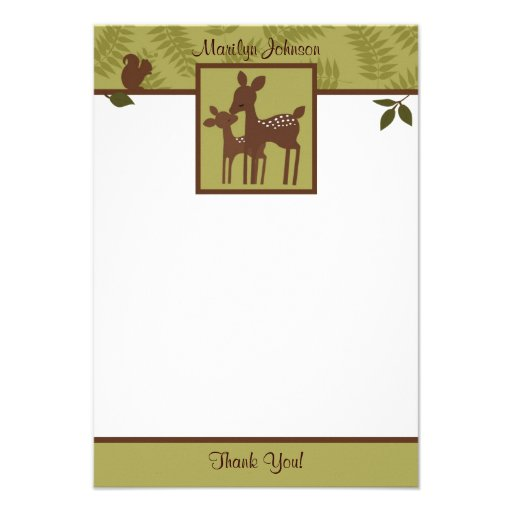 "Willow Deer Baby and Mommy Thank You card 3.5""x5 Invite"