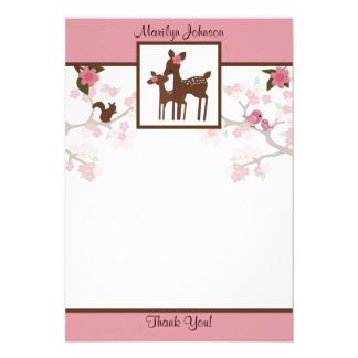Willow Deer Baby and Mommy Thank You card 3 5 x5 Invitations