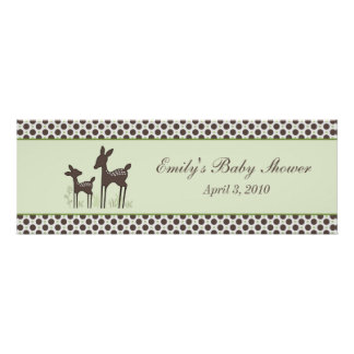 Willow Deer Baby Shower Banner Posters