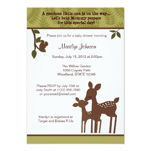 willow deer baby shower invitation forest woodland zazzle