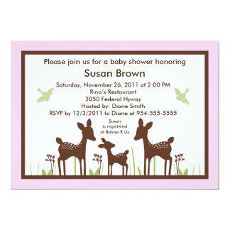 Willow Deer/Deer Pink Baby Shower Invitation