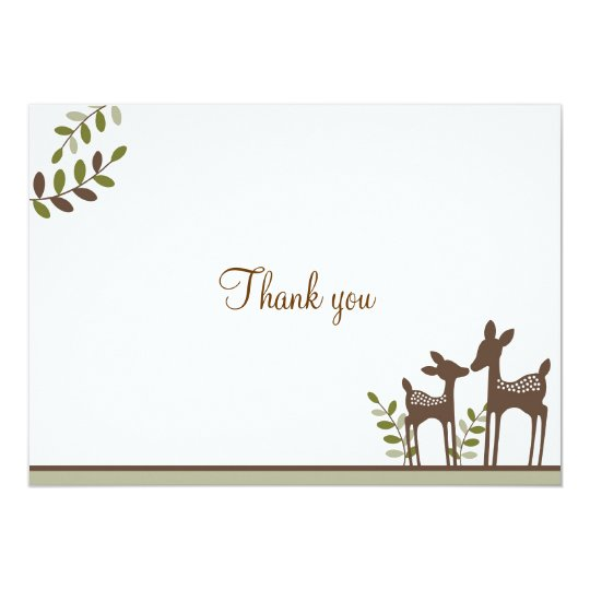 Willow Deer Forest Neutral Thank You Note Cards