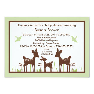 Willow Deer Green Baby Shower Invitation