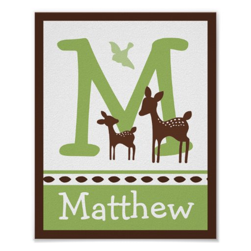 Willow Deer Letter & Name Wall Art Poster