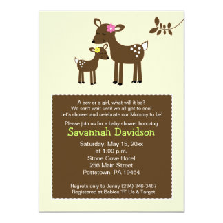 """Willow Deer Neutral Baby Shower Invitation 4.5"""" X 6.25"""" Invitation Card"""