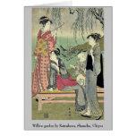 Willow garden by Katsukawa, Shuncho, Ukiyoe Cards