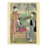 Willow garden by Katsukawa, Shuncho, Ukiyoe Post Cards