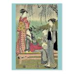 Willow garden by Katsukawa, Shuncho, Ukiyoe Post Card