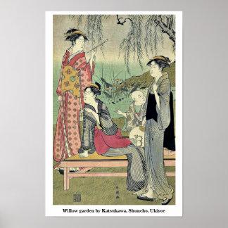 Willow garden by Katsukawa, Shuncho, Ukiyoe Posters