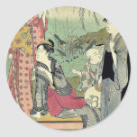 Willow garden by Katsukawa, Shuncho, Ukiyoe Round Sticker