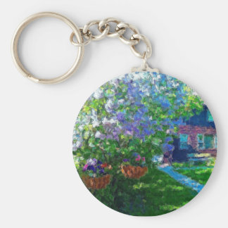 willow lake lilac trees basic round button keychain