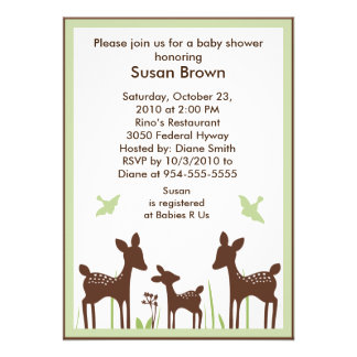 Willow Organic Deer Baby Shower Invitation