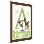 Willow Organic Deer Canvas Letter Name Print 16x20 Canvas Print