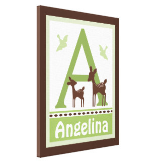 Willow Organic Deer Canvas Letter Name Print 16x20