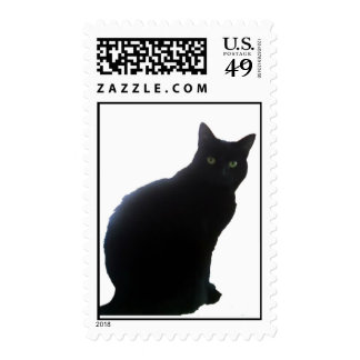 Willow the Black Cat Postage Stamp