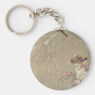 Willow Tree and Mandarin Ducks in the Snow by Basic Round Button Keychain