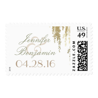 Willow Tree Branches Wedding Postage Stamp