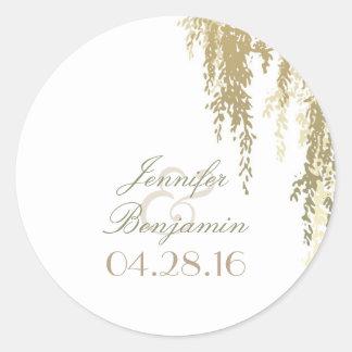 willow tree elegant wedding classic round sticker