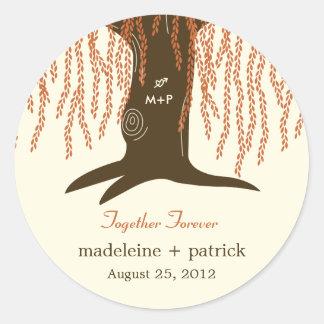 Willow Tree Fall Wedding Favor Sticker Round Sticker
