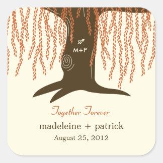 Willow Tree Fall Wedding Favor Sticker Sticker