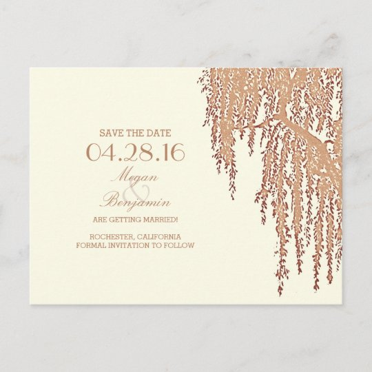 willow tree vintage save the date postcards zazzle com
